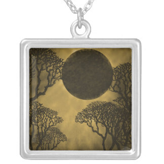Dark Forest Eclipse Necklace, Gold Square Pendant Necklace