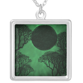 Dark Forest Eclipse Necklace, Green Square Pendant Necklace
