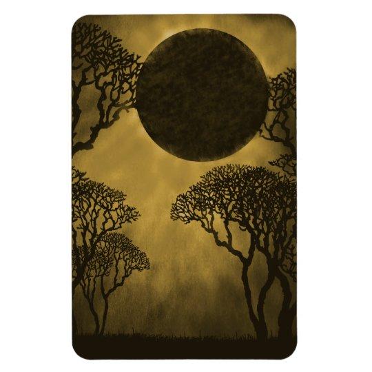 Dark Forest Eclipse Premium Magnet, Gold Rectangular Photo Magnet