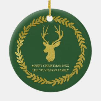 Dark forest Green Gold Wreath Deer Christmas Photo Round Ceramic Decoration