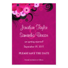 Dark Fuchsia Floral Save The Date Announcement