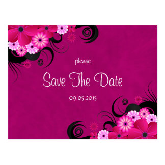 Dark Fuchsia Floral Save The Date Announcements Postcard