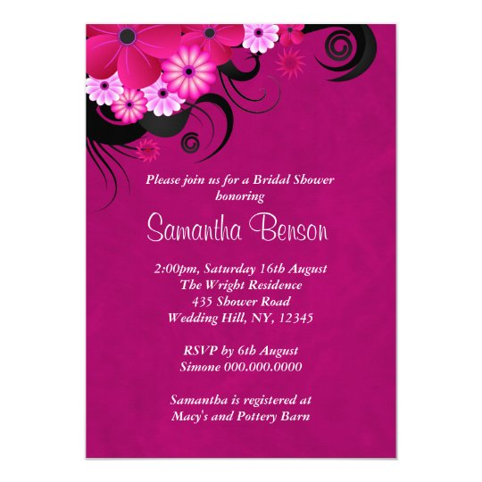 Dark Fuchsia Floral Wedding Bridal Shower Invites