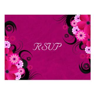 Dark Fuchsia Floral Wedding RSVP Reply Cards Postcard