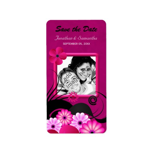Dark Fuchsia Photo Save The Date Favour Labels