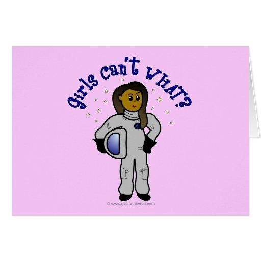 Dark Girl Astronaut Greeting Card