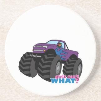 Dark Girl Driving Purple Monster Truck Beverage Coaster