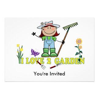 Dark Girl Farmer I Love 2 Garden Personalized Announcements