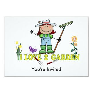 Dark Girl Farmer I Love 2 Garden 5x7 Paper Invitation Card