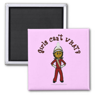 Dark Girl in Red Marching Band Uniform Square Magnet
