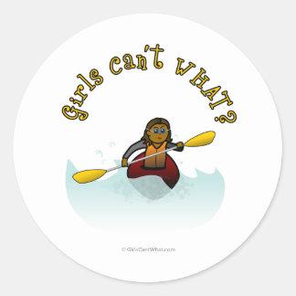 Dark Girl Kayaker Classic Round Sticker