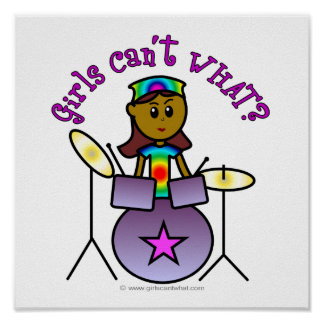 Dark Girl Playing Drums Poster