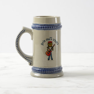 Dark Girl Playing Guitar Beer Stein