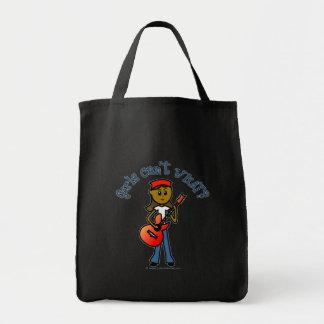 Dark Girl Playing Guitar Grocery Tote Bag