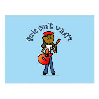 Dark Girl Playing Guitar Postcards