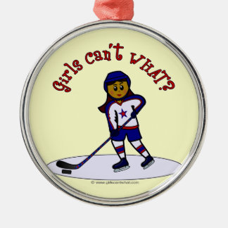 Dark Girls Hockey Player Christmas Ornament