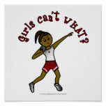Dark Girls Shot Put in Red Uniform Poster