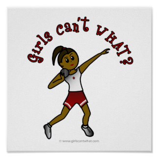 Dark Girls Shot Put in Red Uniform Poster