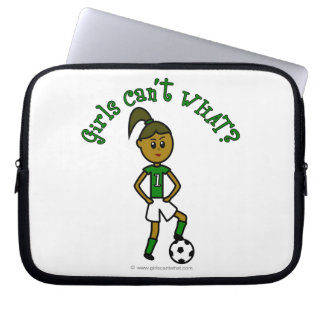 Dark Girls Soccer in Green Uniform Laptop Sleeve