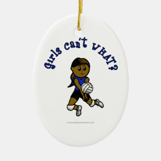 Dark Girls Volleyball in Blue Uniform Ornament