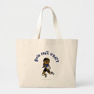 Dark Girls Volleyball in Blue Uniform Large Tote Bag