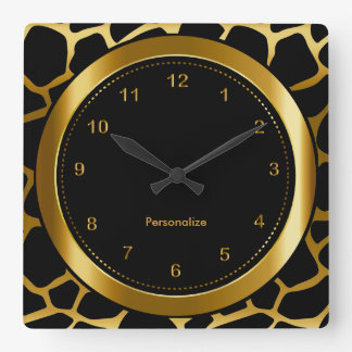 Dark Gold and Black Giraffe Pattern Print Square Wall Clock