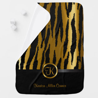 Dark Gold and Black Zebra Stripes Pattern Baby Blanket