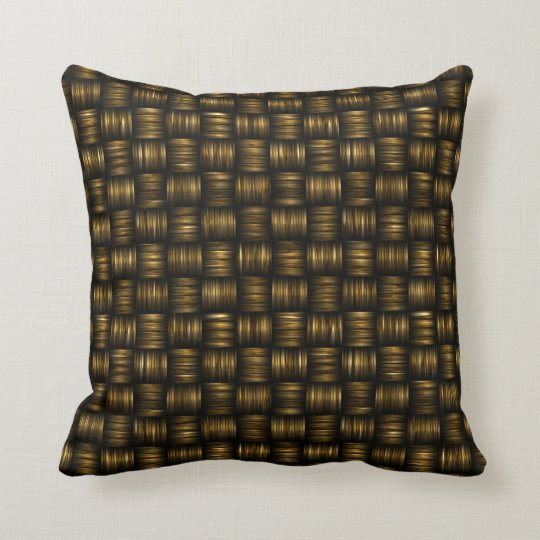 Dark Gold Black Basket Weave Pattern Throw Pillow