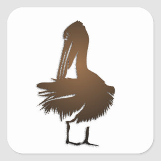 Dark Golden Pelican Square Sticker