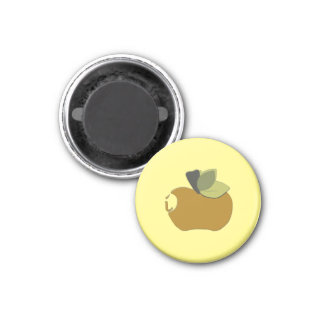 Dark Goldenrod Apple 3 Cm Round Magnet