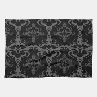 Dark Gothic Damask Pattern Tea Towel