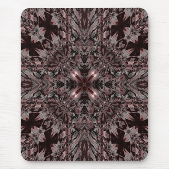 Dark gothic red and grey kaleidoscope mouse pad