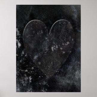 Dark Gothic Valentine's Heart Art on Black Poster