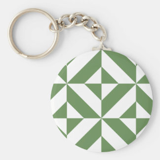 Dark Grass Green Geometric Deco Cube Pattern Keychains
