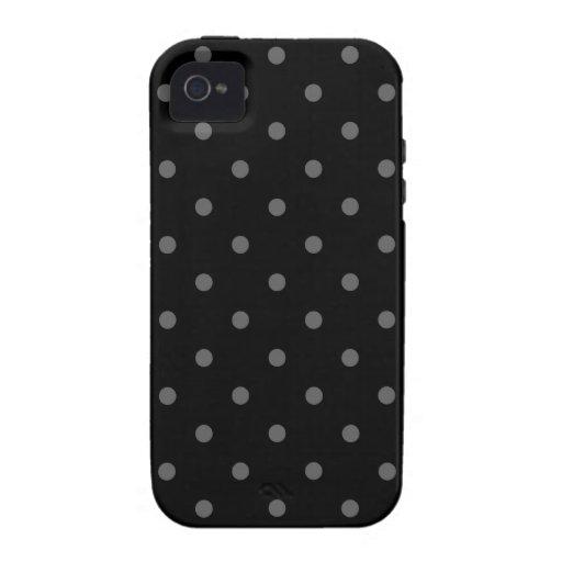 Dark Gray and Black Polka Dot Pattern. Vibe iPhone 4 Covers