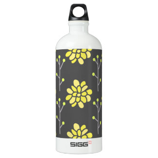 Dark Gray and Bright Yellow Retro Flower, Floral SIGG Traveller 1.0L Water Bottle