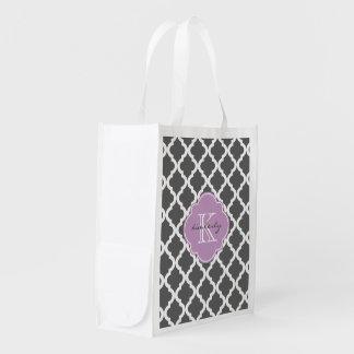 Dark Gray and Lilac Moroccan Quatrefoil Monogam Reusable Grocery Bag