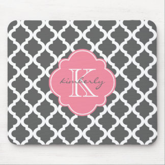 Dark Gray and Pink Moroccan Quatrefoil Print Mouse Mat