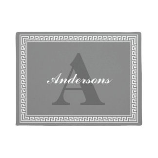 Dark Gray and White Greek Key Monogram Doormat