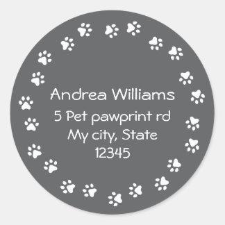 Dark gray and white pawprint border address round sticker