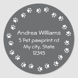 Dark gray and white pawprint border address classic round sticker