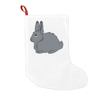 Dark Gray Arctic Hare Small Christmas Stocking