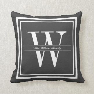 Dark Gray Border Monogram Pillow
