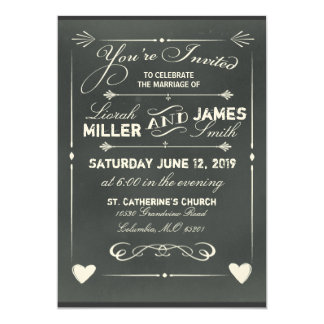Dark Gray Chalkboard Wedding Invitation with heart