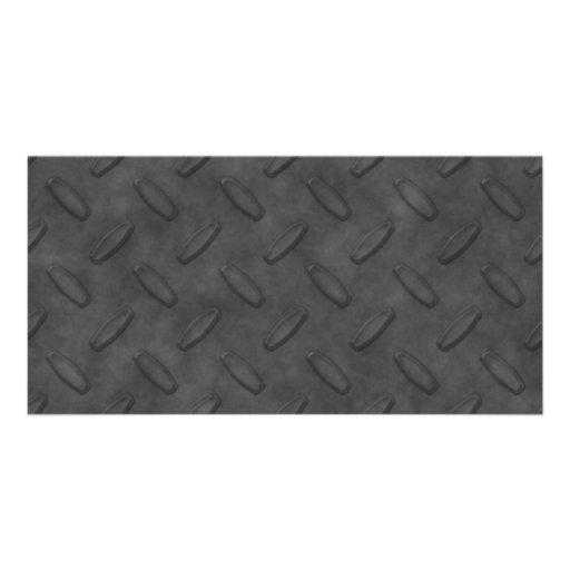 Dark Gray Diamond Plate Texture Custom Photo Card