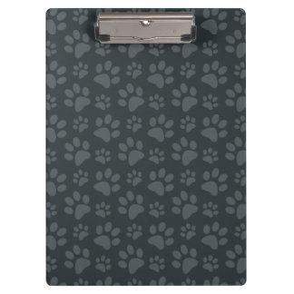 Dark gray dog paw print pattern clipboard