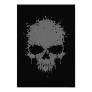 Dark Gray Dripping Splatter Skull 9 Cm X 13 Cm Invitation Card