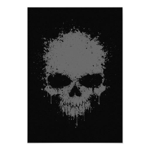 Dark Gray Dripping Splatter Skull Custom Invitations