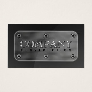 Dark Gray Faux Steel Metal Plate and Screws Business Card