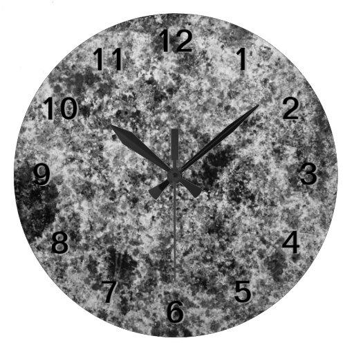 Dark Gray Grungy Abstract Design Clock
